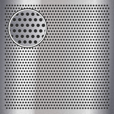 Chrome metal sheet surface with holes Vector