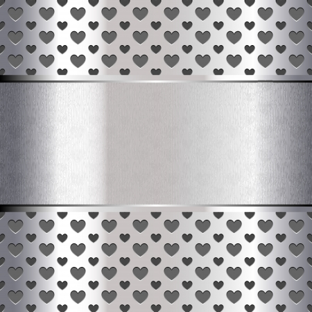chromium sheet: Background perforated shape heart, metallic texture Illustration
