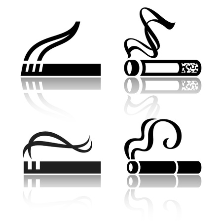 cigarette smoke: Set of signs cigarettes
