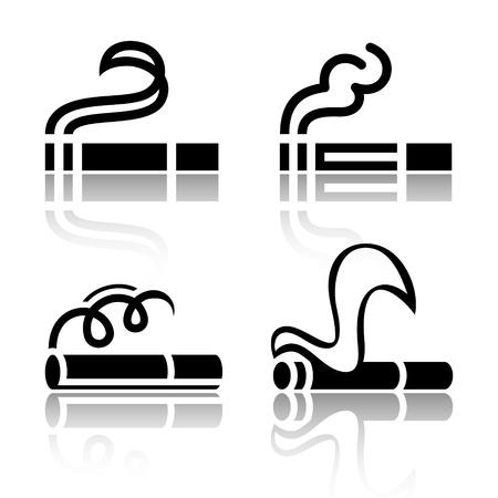 smoking ban: Set of symbols cigarettes