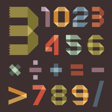 Font from colored  pressure sensitive tapes  - Arabic numerals Vector