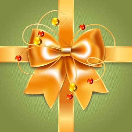Gold bow of silk ribbon Vector