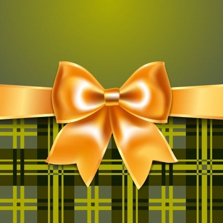 Tartan background with ribbon bow Vector