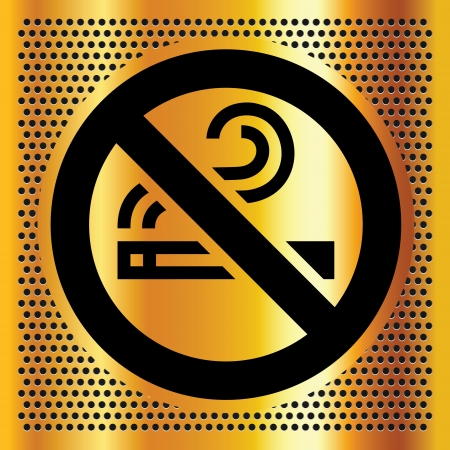 No smoking symbol on a bronze backdrop Vector