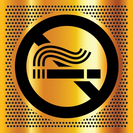 No smoking symbol on a gold background Vector