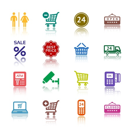 shop button: Set pictograms supermarket services, Shopping colour icons Illustration