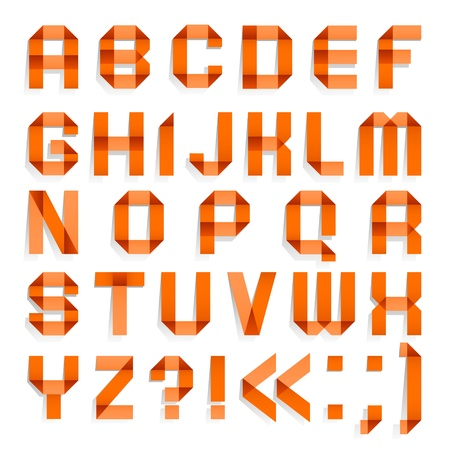 Alphabet folded of colored paper - Orange letters