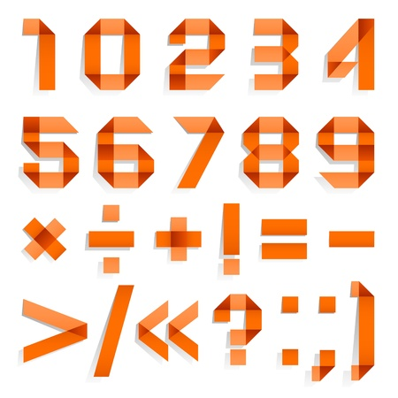 Font folded from colored paper - Arabic numerals, orange Vector
