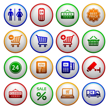 cash dispense: Set pictograms supermarket services Illustration