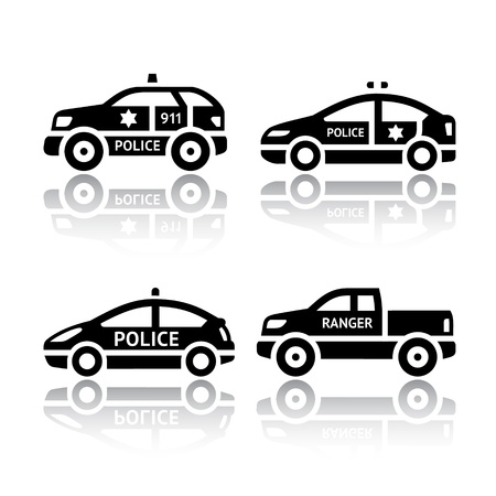 car crime: Set of transport icons - Police cars