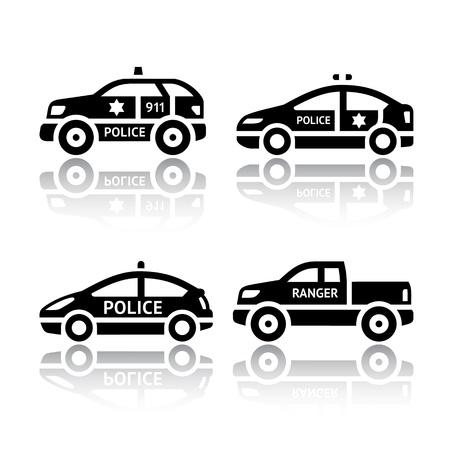 politieauto: Set van vervoer pictogrammen - Politie auto's