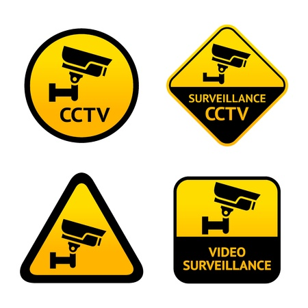 Video surveillance, set labels Stock Vector - 17115857