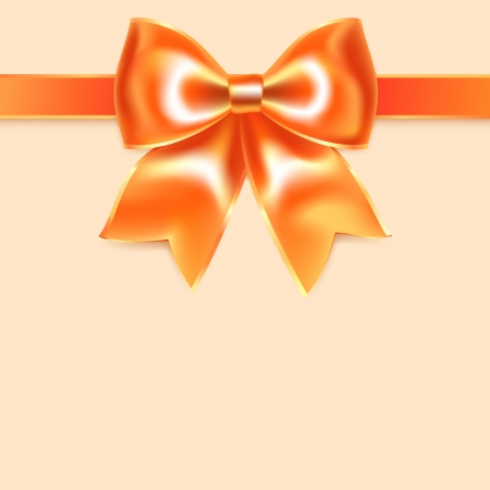Orange bow of silk ribbon, isolated on peach background Stock Vector - 17115925