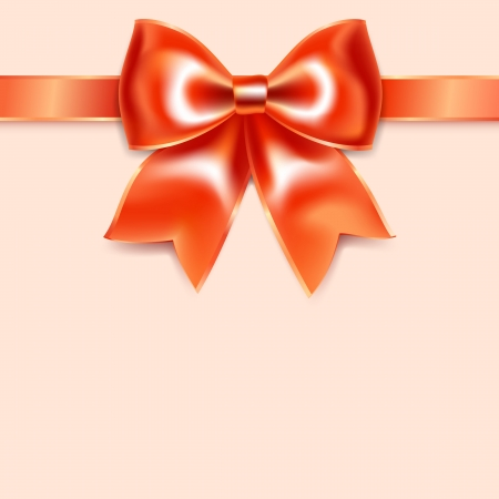 Red bow of silk ribbon, isolated on pink background Stock Vector - 17115928