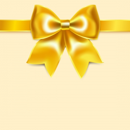 Yellow bow of silk ribbon, isolated on yellowish background Vector