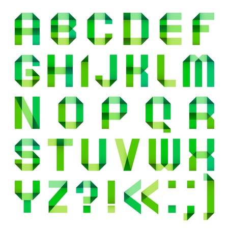 spectral: Spectral letters folded of paper ribbon-green
