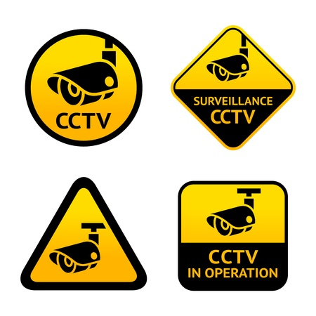 cctv security: Video surveillance, set signs