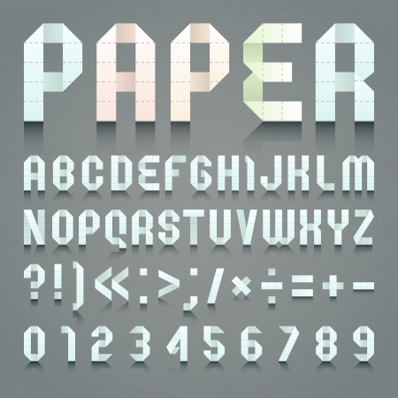 roman alphabet: Alphabet folded of toilet blue paper Illustration