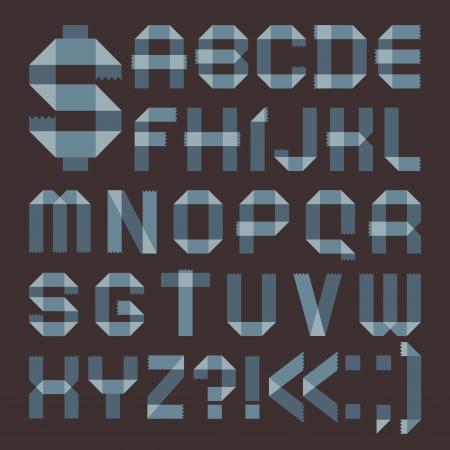 scotch: Czcionka z niebieskawym taÅ›my klejÄ…cej - Roman alfabetu