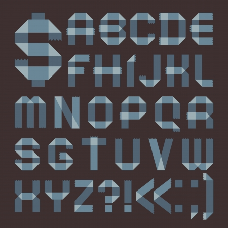 sellotape: Font from bluish scotch tape -  Roman alphabet