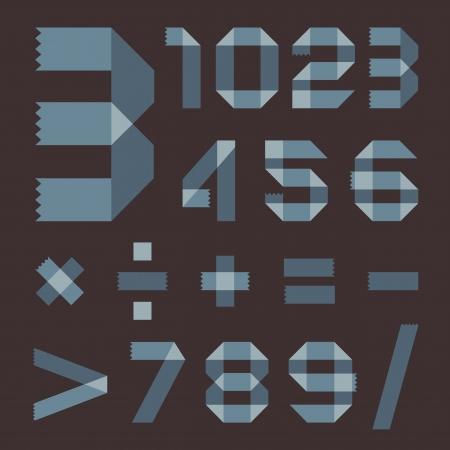 scotch tape: Font from bluish scotch tape - Arabic numerals