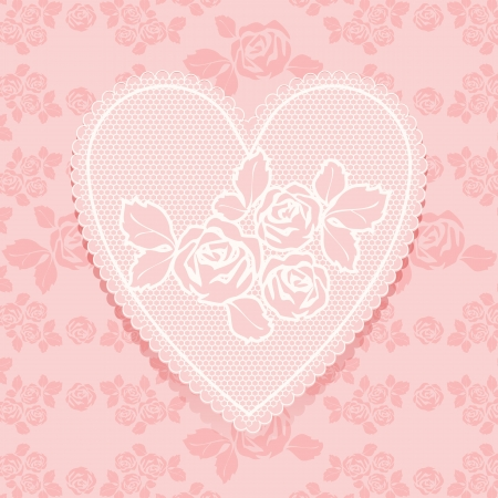 Lace pink in heart shape Stock Vector - 17505113