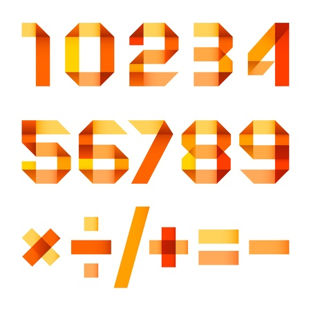 Spectral letters folded of paper orange ribbon - Arabic numerals Vector