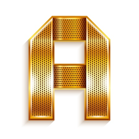roman alphabet: Font folded from a metallic gold perforated ribbon, Letter A, Vector illustration  Illustration