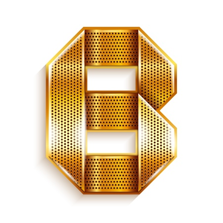 Font folded from a metallic gold perforated ribbon, Letter B, Vector illustration