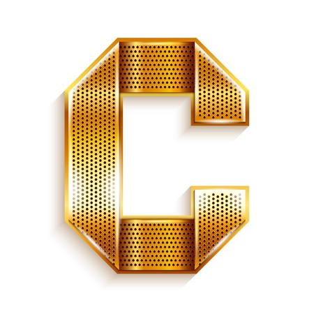 Font folded from a metallic gold perforated ribbon, Letter C, Vector illustration
