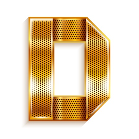 Font folded from a metallic gold perforated ribbon, Letter D, Vector illustration  Vector