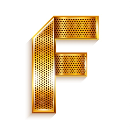 Font folded from a metallic gold perforated ribbon,Letter F, Vector illustration