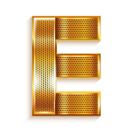 metal grate: Font folded from a metallic gold perforated ribbon, Letter E, Vector illustration