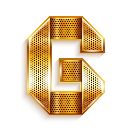 copper magnet: Font folded from a metallic gold perforated ribbon, Letter G, Vector illustration