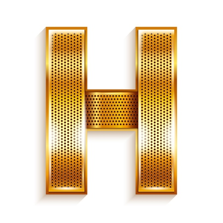 metal grate: Font folded from a metallic gold perforated ribbon, Letter H, Vector illustration