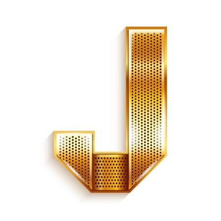 Font folded from a metallic gold perforated ribbon, Letter J, Vector illustration