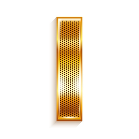 roman alphabet: Font folded from a metallic gold perforated ribbon, Letter I, Vector illustration
