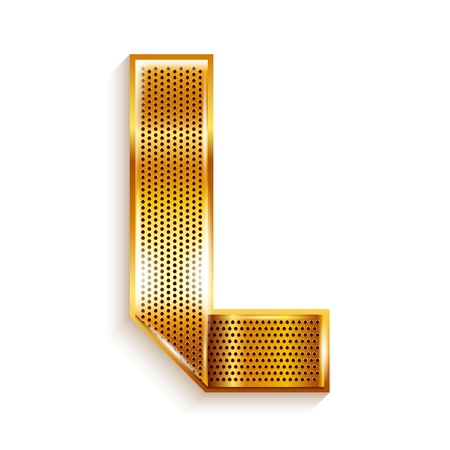 copper magnet: Font folded from a metallic gold perforated ribbon, Letter L, Vector illustration