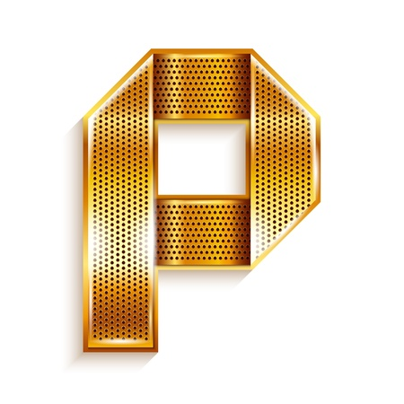 Font folded from a metallic gold perforated ribbon, Letter P, Vector illustration  Illustration