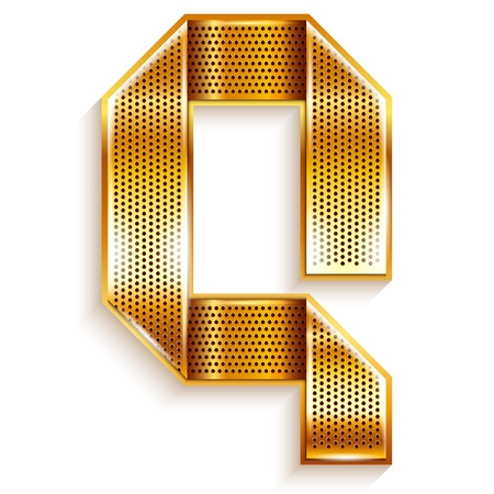metallic tape: Font folded from a metallic gold perforated ribbon, Letter Q, Vector illustration  Illustration