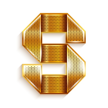 Font folded from a metallic gold perforated ribbon, Letter S, Vector illustration  Vector