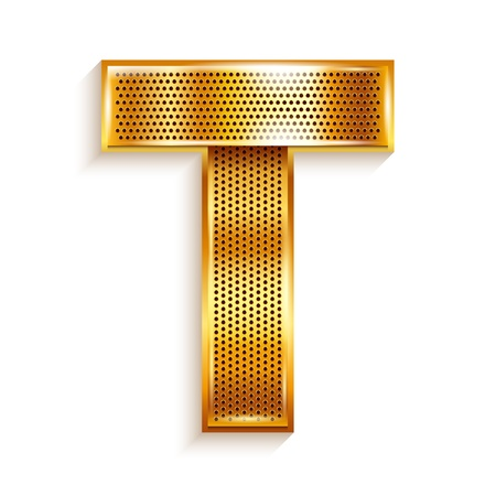 metal grate: Font folded from a metallic gold perforated ribbon, Letter T, Vector illustration