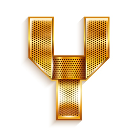 Font folded from a metallic gold perforated ribbon, Letter Y, Vector illustration Stock Vector - 17727051