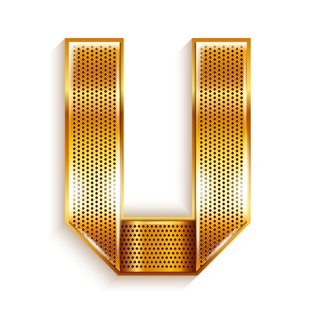 folded metallic tape: Font folded from a metallic gold perforated ribbon, Letter U, Vector illustration