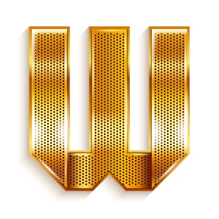 Font folded from a metallic gold perforated ribbon, Letter W, Vector illustration  Vector