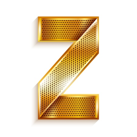 roman alphabet: Font folded from a metallic gold perforated ribbon, Letter Z, Vector illustration