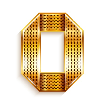Font folded from a metallic gold perforated ribbon, Letter O, Vector illustration  Illustration