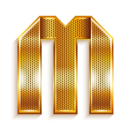 Font folded from a metallic gold perforated ribbon, Letter M, Vector illustration