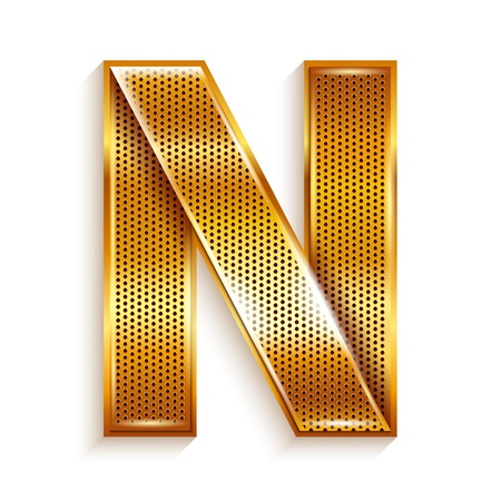 Font folded from a metallic gold perforated ribbon, Letter N, Vector illustration