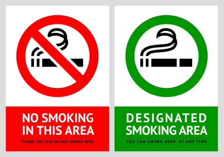 No smoking and Smoking area labels - Set 6 Vector